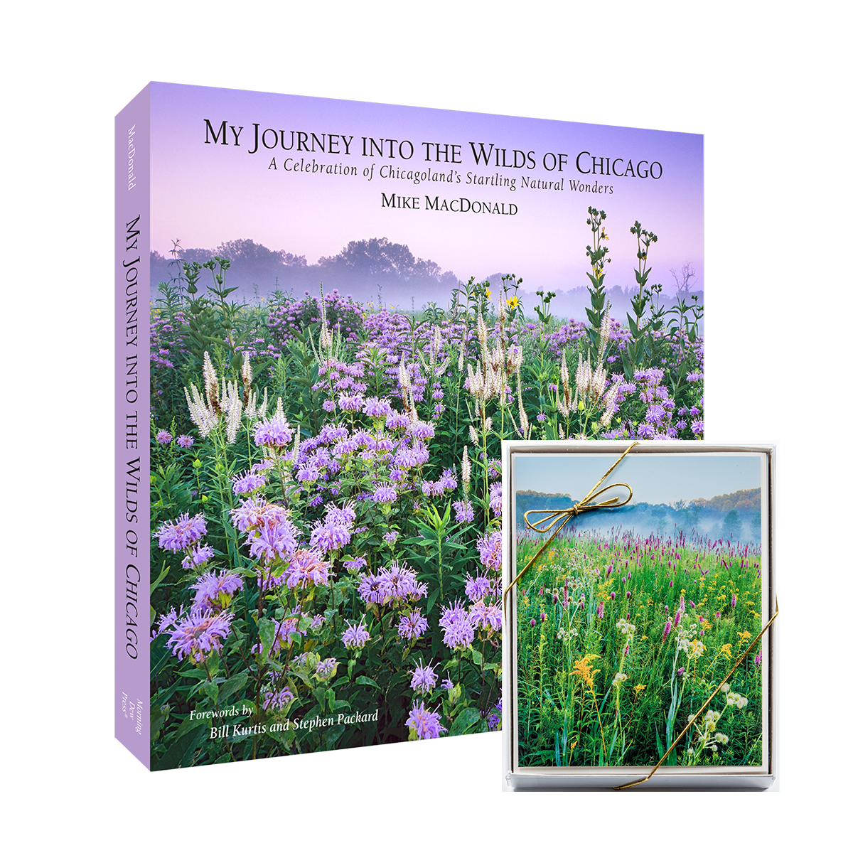 "The book ""My Journey into the Wilds of Chicago, Custom Bookmark, and Four Season Card Assortment: 10-card assorted set of boxed cards by Mike MacDonald."
