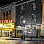 Tivoli Theater in Downers Grove on a rainy evening.